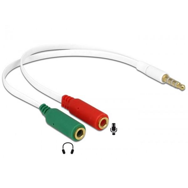 DELOCK Αντάπτορας από 2x 3.5mm 3-pin jack σε 3.5mm 4-pin jack