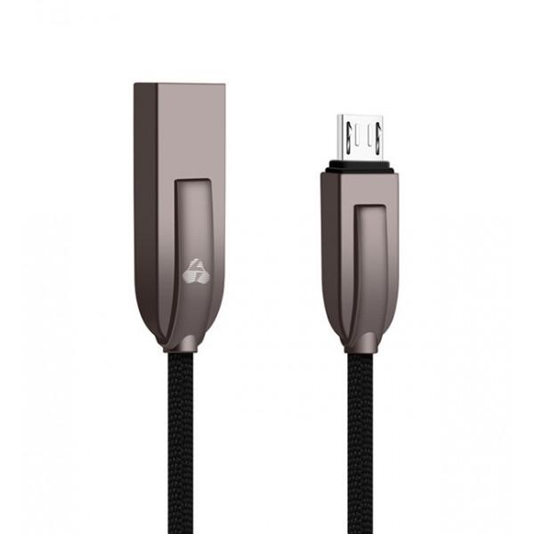 POWERTECH Καλώδιο USB σε Micro USB ele zinc PTR-0039 copper, 1m, μαύρο