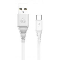 POWERTECH Καλώδιο USB σε Type-C eco PTR-0060 copper, 1m , λευκό