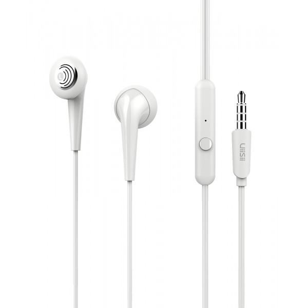 UIISII Earphones U6, Hi-Res Audio, mic, 102db, 1.2m, λευκά